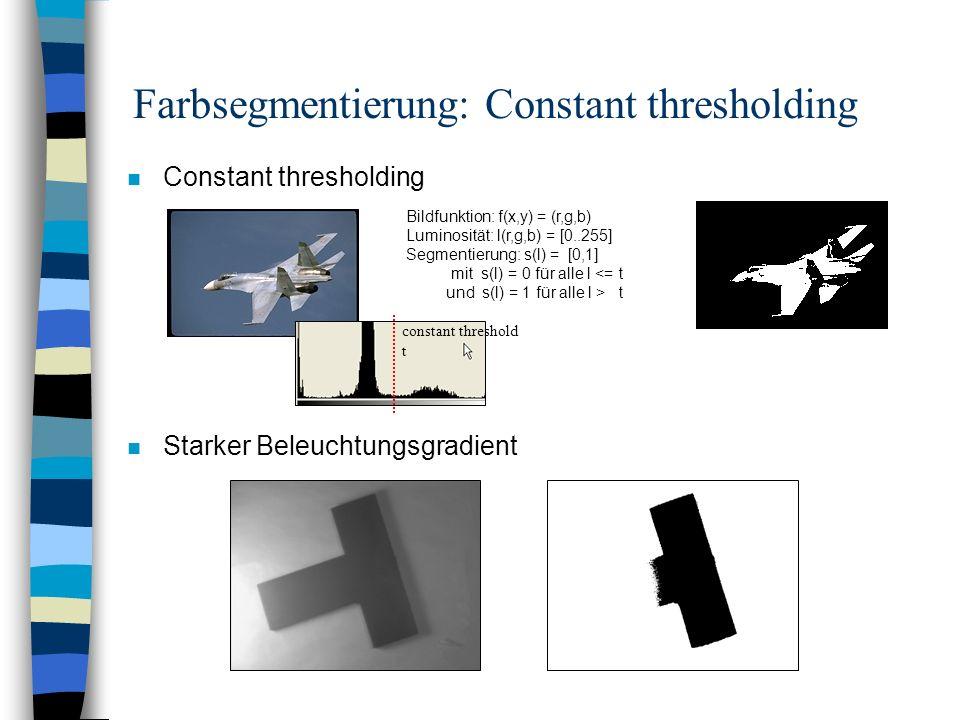 Farbsegmentierung: Constant thresholding n Constant thresholding n Starker Beleuchtungsgradient Bildfunktion: f(x,y) = (r,g,b) Luminosität: l(r,g,b) =