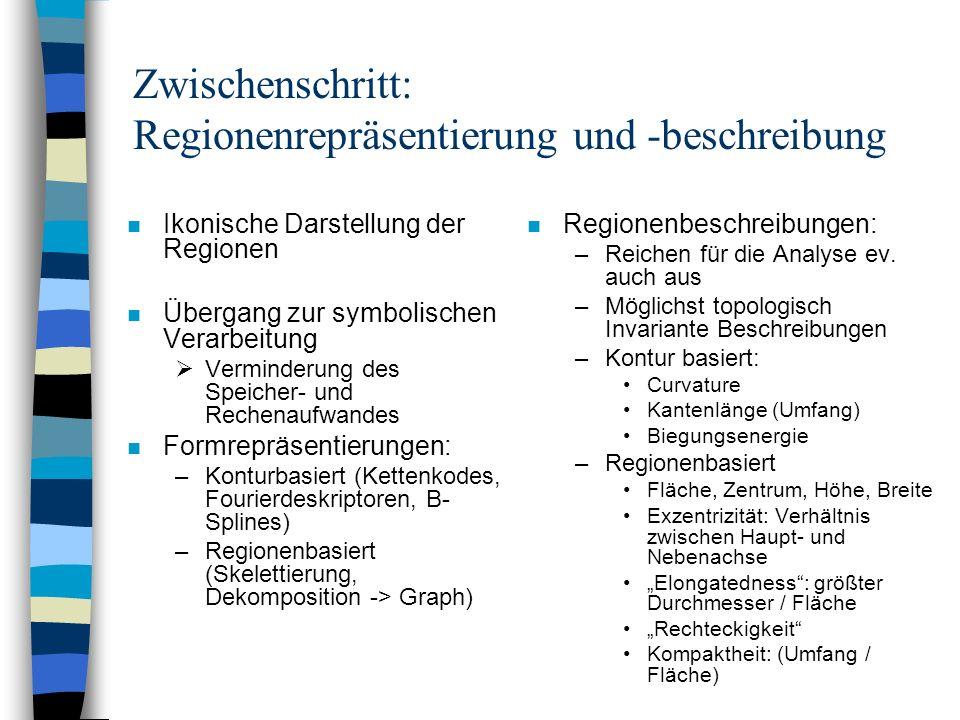 Zwischenschritt: Regionenrepräsentierung und -beschreibung n Ikonische Darstellung der Regionen n Übergang zur symbolischen Verarbeitung Verminderung