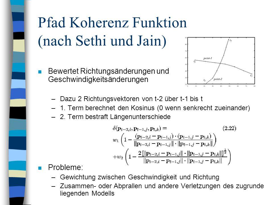 Pfad Koherenz Funktion (nach Sethi und Jain) n Bewertet Richtungsänderungen und Geschwindigkeitsänderungen –Dazu 2 Richtungsvektoren von t-2 über t-1