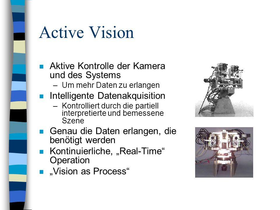 Active Vision n Aktive Kontrolle der Kamera und des Systems –Um mehr Daten zu erlangen n Intelligente Datenakquisition –Kontrolliert durch die partiel