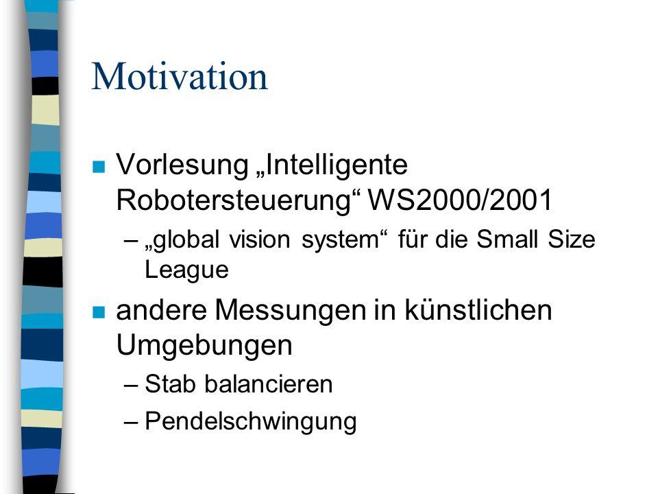 Motivation n Vorlesung Intelligente Robotersteuerung WS2000/2001 –global vision system für die Small Size League n andere Messungen in künstlichen Umg