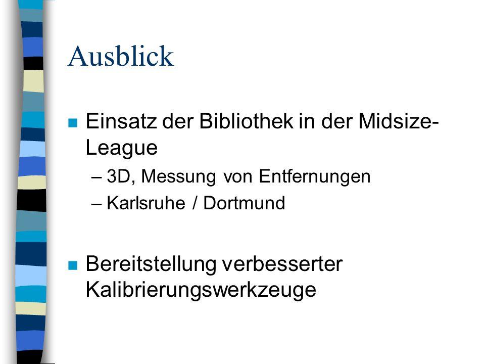 Ausblick n Einsatz der Bibliothek in der Midsize- League –3D, Messung von Entfernungen –Karlsruhe / Dortmund n Bereitstellung verbesserter Kalibrierun