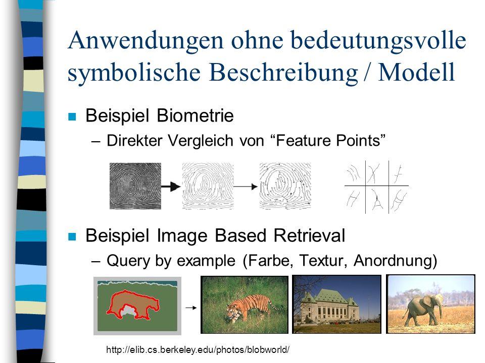 Anwendungen ohne bedeutungsvolle symbolische Beschreibung / Modell n Beispiel Biometrie –Direkter Vergleich von Feature Points n Beispiel Image Based