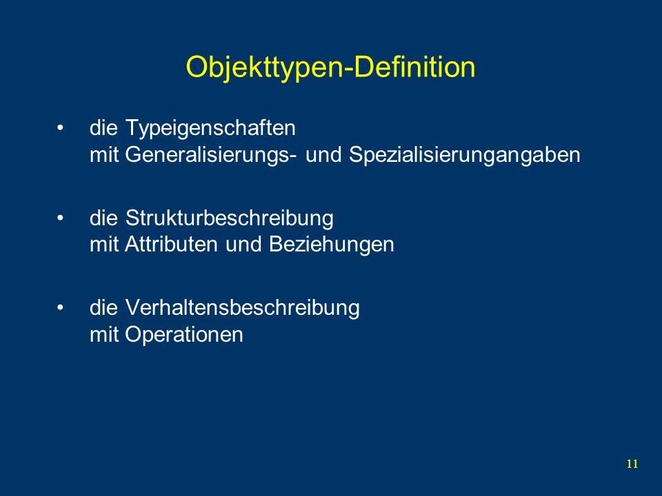 11 Objekttypen-Definition die Typeigenschaften mit Generalisierungs- und Spezialisierungangaben die Strukturbeschreibung mit Attributen und Beziehungen die Verhaltensbeschreibung mit Operationen