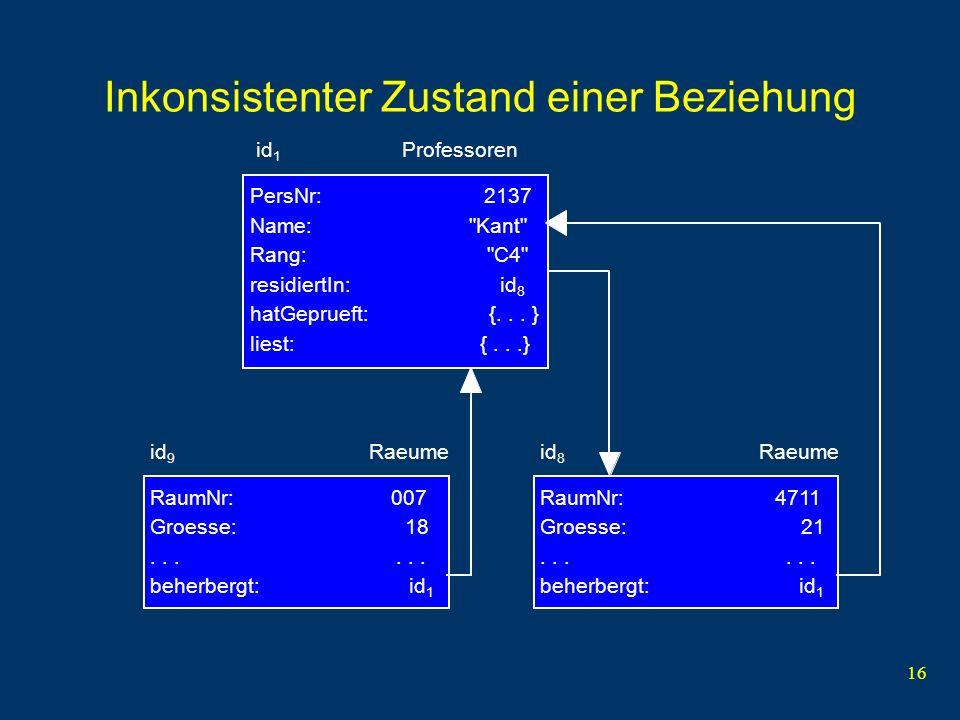 16 Inkonsistenter Zustand einer Beziehung PersNr: 2137 Name: Kant Rang: C4 residiertIn: id 8 hatGeprueft: {...