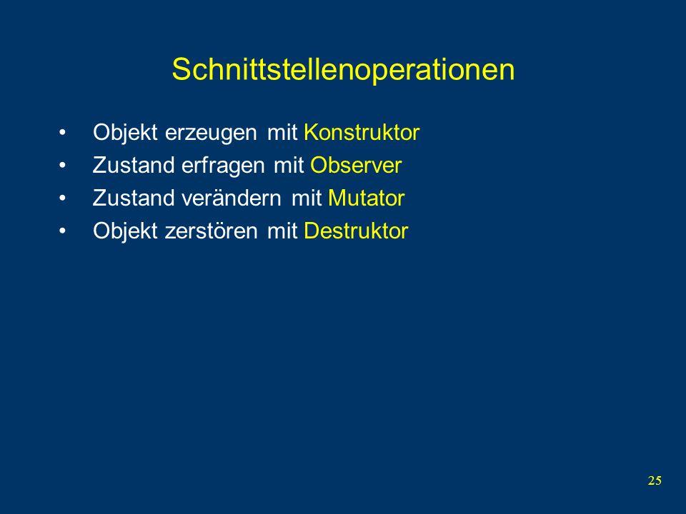 25 Schnittstellenoperationen Objekt erzeugen mit Konstruktor Zustand erfragen mit Observer Zustand verändern mit Mutator Objekt zerstören mit Destruktor