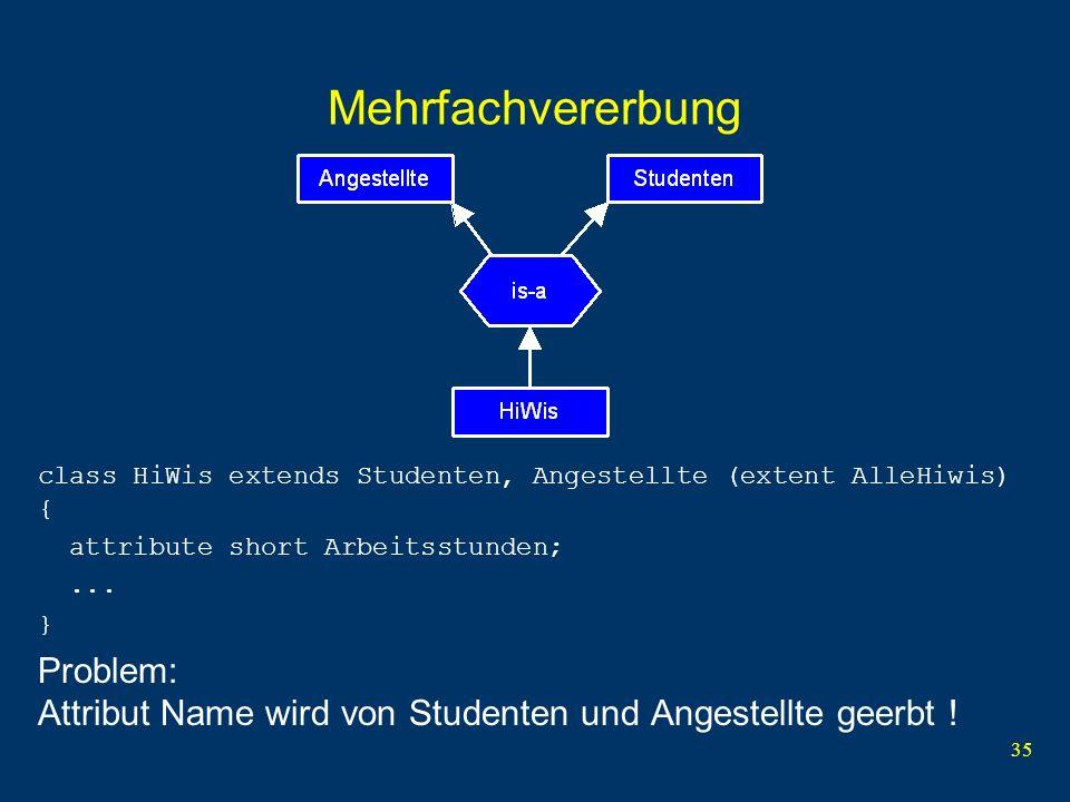 35 Mehrfachvererbung class HiWis extends Studenten, Angestellte (extent AlleHiwis) { attribute short Arbeitsstunden;...