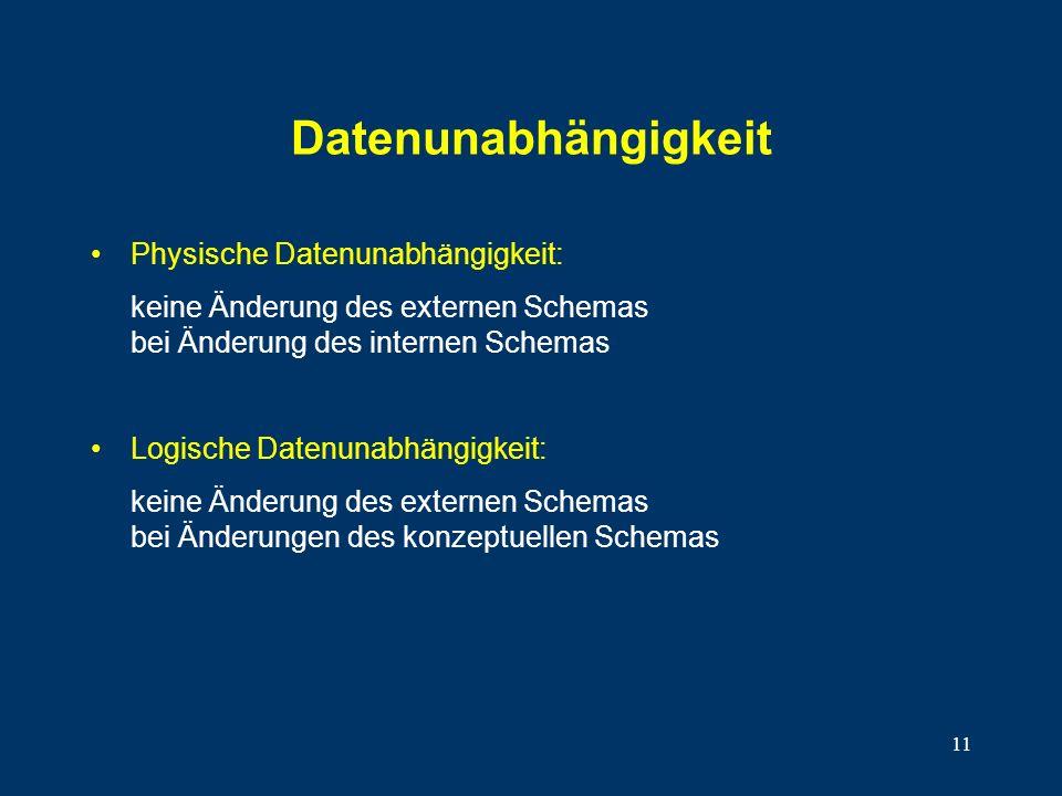 11 Datenunabhängigkeit Physische Datenunabhängigkeit: keine Änderung des externen Schemas bei Änderung des internen Schemas Logische Datenunabhängigkeit: keine Änderung des externen Schemas bei Änderungen des konzeptuellen Schemas