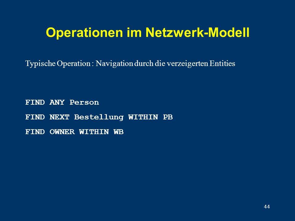 44 Operationen im Netzwerk-Modell FIND ANY Person FIND NEXT Bestellung WITHIN PB FIND OWNER WITHIN WB Typische Operation : Navigation durch die verzeigerten Entities