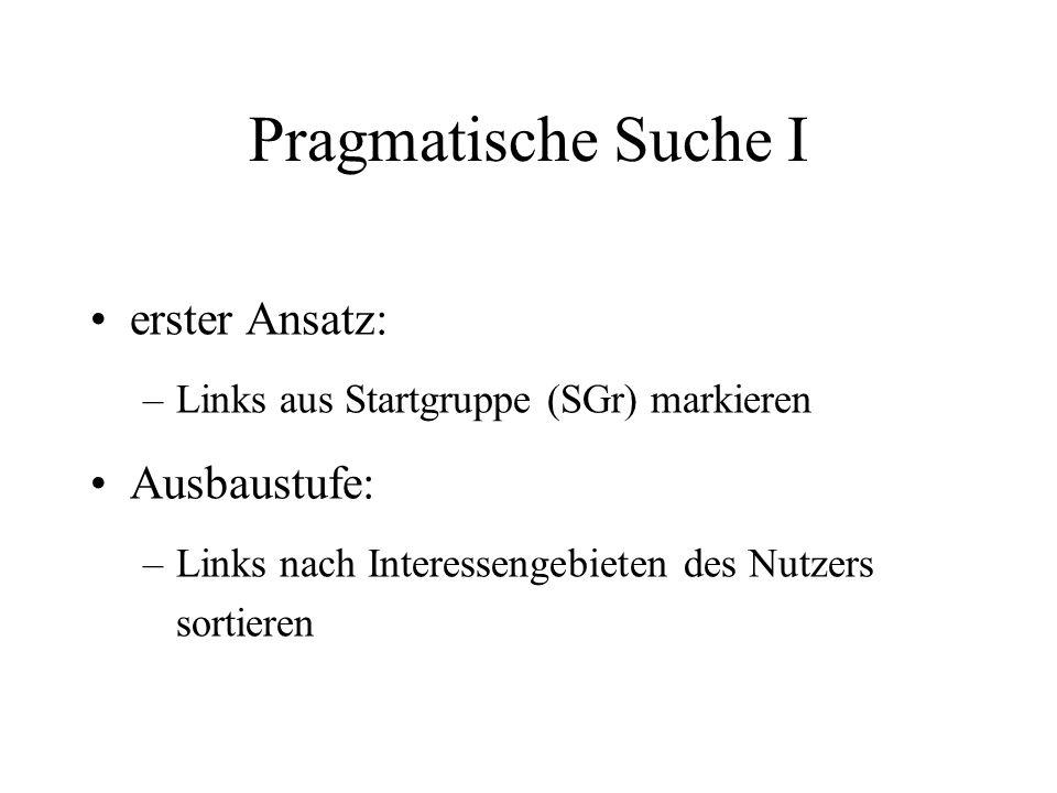 Pragmatische Suche I erster Ansatz: –Links aus Startgruppe (SGr) markieren Ausbaustufe: –Links nach Interessengebieten des Nutzers sortieren