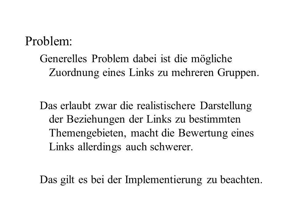 Problem: Generelles Problem dabei ist die mögliche Zuordnung eines Links zu mehreren Gruppen.