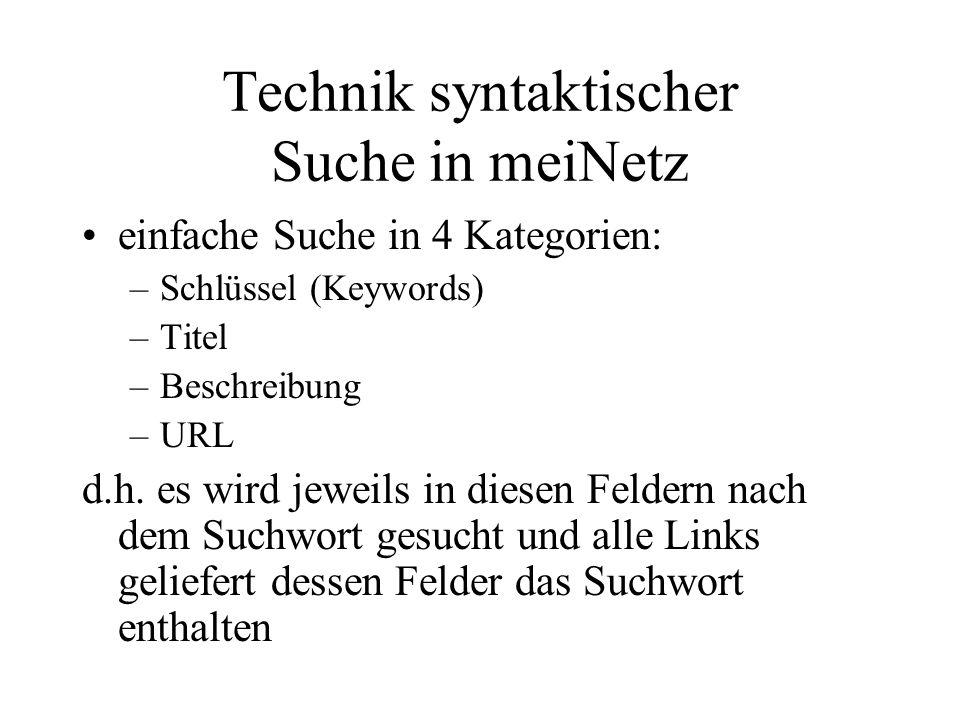 Technik syntaktischer Suche in meiNetz einfache Suche in 4 Kategorien: –Schlüssel (Keywords) –Titel –Beschreibung –URL d.h.