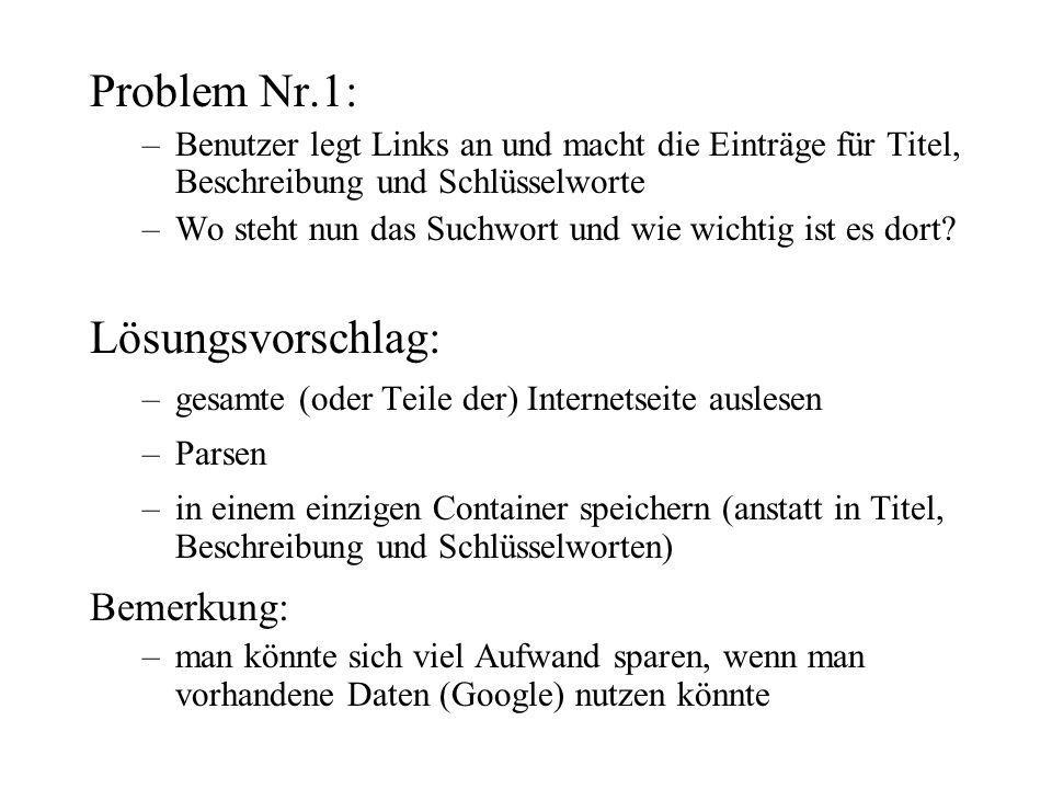 Problem Nr.1: –Benutzer legt Links an und macht die Einträge für Titel, Beschreibung und Schlüsselworte –Wo steht nun das Suchwort und wie wichtig ist es dort.