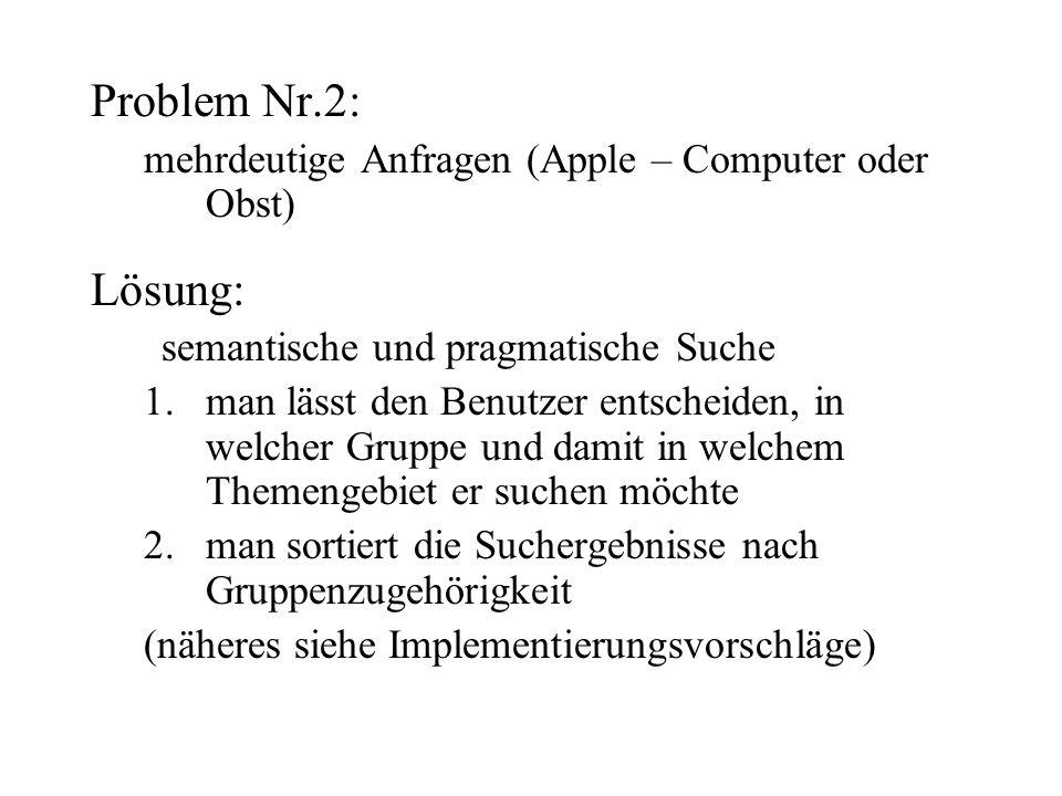 Problem Nr.2: mehrdeutige Anfragen (Apple – Computer oder Obst) Lösung: semantische und pragmatische Suche 1.man lässt den Benutzer entscheiden, in welcher Gruppe und damit in welchem Themengebiet er suchen möchte 2.man sortiert die Suchergebnisse nach Gruppenzugehörigkeit (näheres siehe Implementierungsvorschläge)
