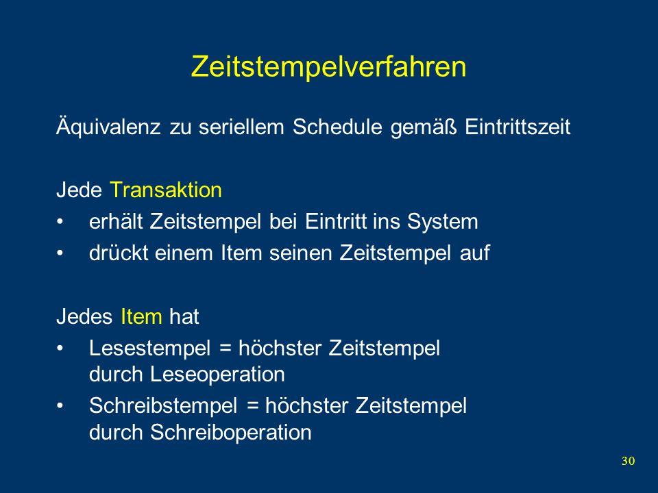 31 Regeln Transaktion mit Zeitstempel t darf kein Item lesen mit Schreibstempel t w > t (denn der alte Item-Wert ist weg).