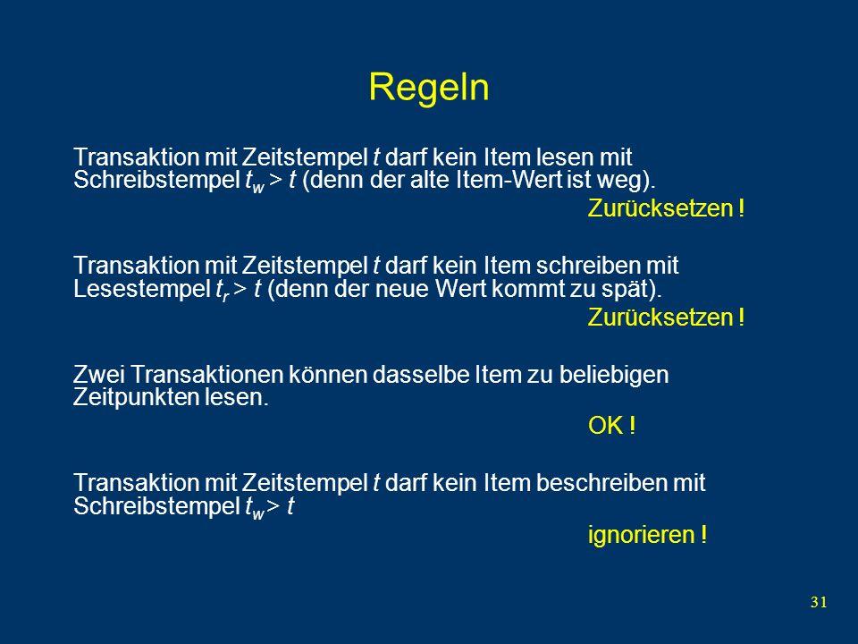 32 Regeln Transaktion X mit Zeitstempel t bei Zugriff auf Item mit Lesestempel t r und Schreibstempel t w : if (X = read) and (t t w ) führe X aus und setze t r := max{t r, t} if (X = write) and (t t r ) and (t t w ) then führe X aus und setze t w := t if (X = write) and ( t r t < t w ) tue nichts If (X = read and t < t w ) or (X = write and t < t r ) setze Transaktion zurück