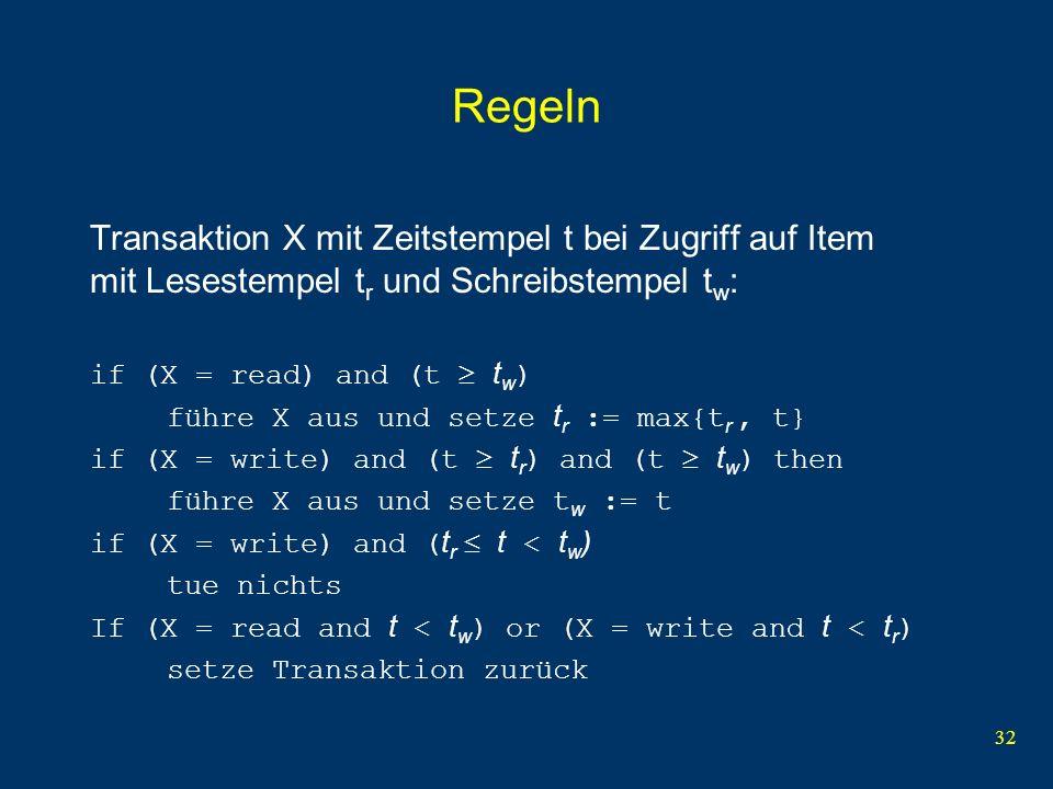 33 Beispiel für Zeitstempelverfahren Stempel 150 160 Item a hat t r = t w = 0 read(a) t r := 150 read(a) t r := 160 a := a - 1 write(a) ok, da 160 t r = 160 und 160 t w = 0 t w := 160 write(a) T 1 wird zurückgesetzt, da 150 < t r = 160 T1 T2