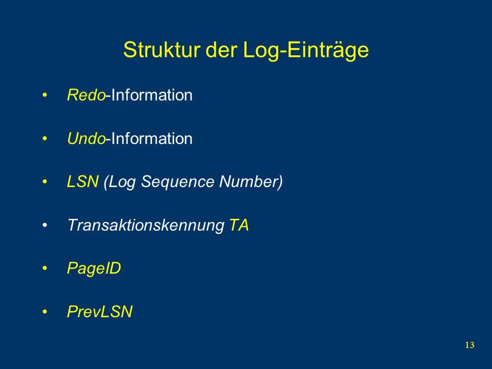 13 Struktur der Log-Einträge Redo-Information Undo-Information LSN (Log Sequence Number) Transaktionskennung TA PageID PrevLSN
