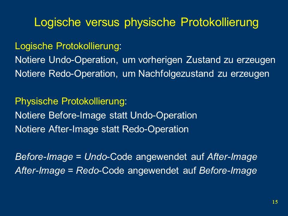 15 Logische versus physische Protokollierung Logische Protokollierung: Notiere Undo-Operation, um vorherigen Zustand zu erzeugen Notiere Redo-Operatio
