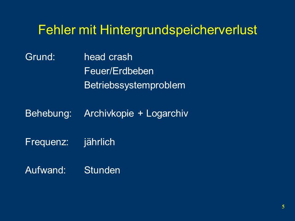 5 Fehler mit Hintergrundspeicherverlust Grund:head crash Feuer/Erdbeben Betriebssystemproblem Behebung:Archivkopie + Logarchiv Frequenz: jährlich Aufw