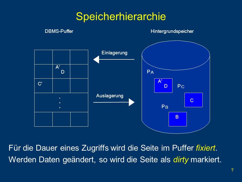 7 Speicherhierarchie A' D C' A' D C B P C P A P B Einlagerung Auslagerung HintergrundspeicherDBMS-Puffer Für die Dauer eines Zugriffs wird die Seite i