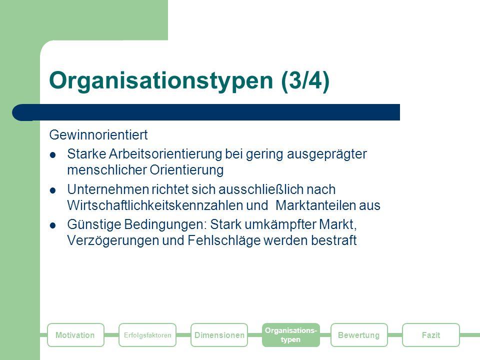Motivation Erfolgsfaktoren Dimensionen Organisations- typen FazitBewertung Organisationstypen (3/4) Gewinnorientiert Starke Arbeitsorientierung bei ge