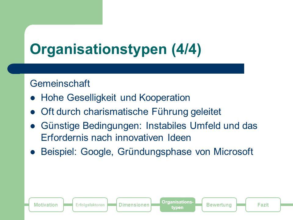 Motivation Erfolgsfaktoren Dimensionen Organisations- typen FazitBewertung Organisationstypen (4/4) Gemeinschaft Hohe Geselligkeit und Kooperation Oft