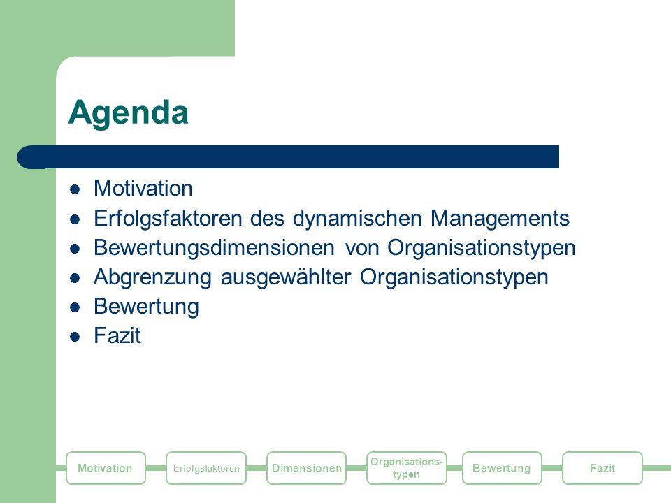 Motivation Erfolgsfaktoren Dimensionen Organisations- typen FazitBewertung Fazit Jeder Organisationstyp hat Vorteile in speziellen Bereichen und Situationen Aber: – In der Regel ist der Organisationstyp nicht frei zu wählen sondern durch externe Faktoren determiniert – Die Typen sind für erfolgreiches Change Management nicht gleich gut geeignet Fazit