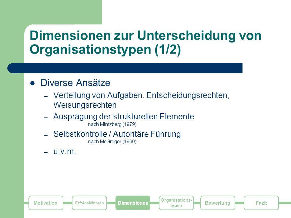 Motivation Erfolgsfaktoren Dimensionen Organisations- typen FazitBewertung Dimensionen zur Unterscheidung von Organisationstypen (1/2) Diverse Ansätze