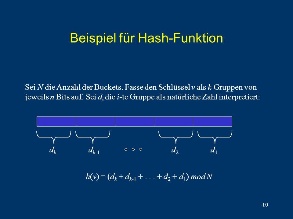 10 Beispiel für Hash-Funktion Sei N die Anzahl der Buckets. Fasse den Schlüssel v als k Gruppen von jeweils n Bits auf. Sei d i die i-te Gruppe als na