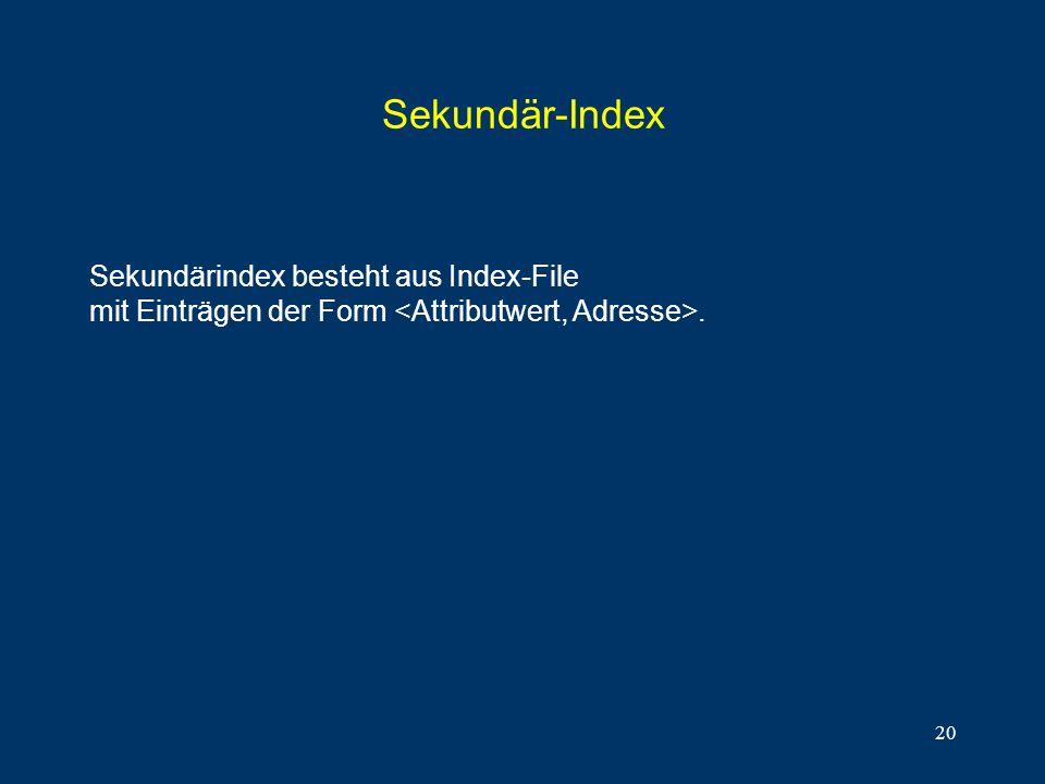 20 Sekundär-Index Sekundärindex besteht aus Index-File mit Einträgen der Form.