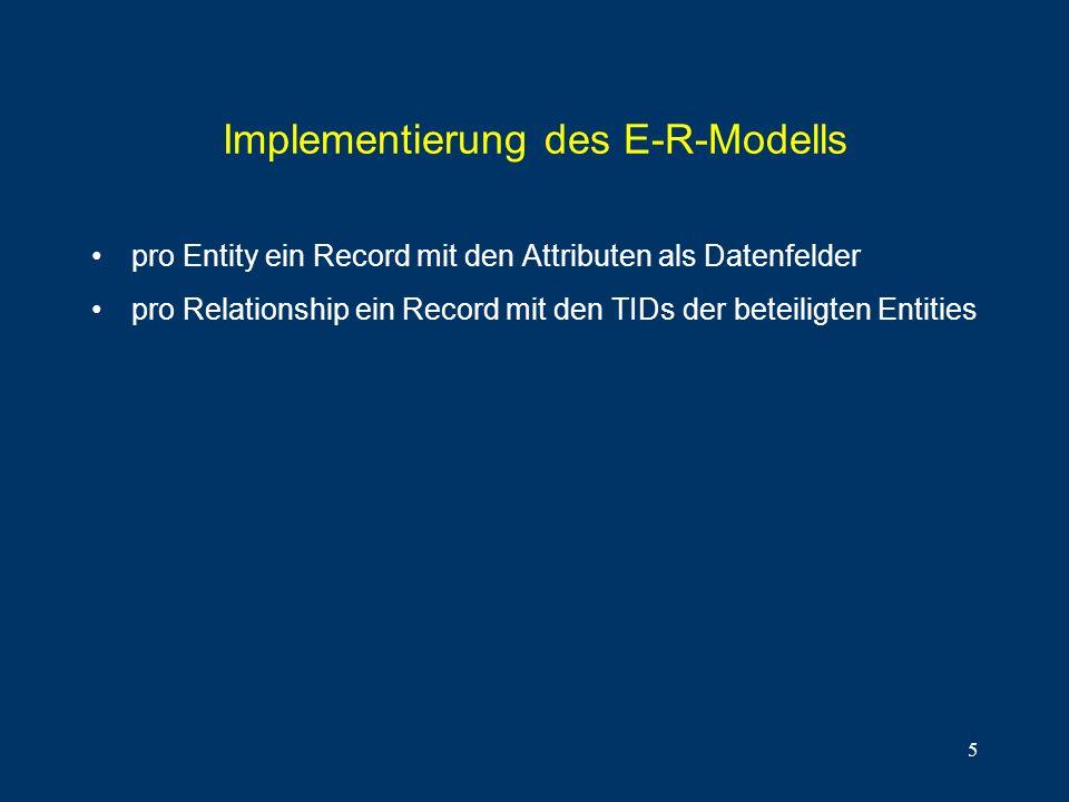 5 Implementierung des E-R-Modells pro Entity ein Record mit den Attributen als Datenfelder pro Relationship ein Record mit den TIDs der beteiligten En