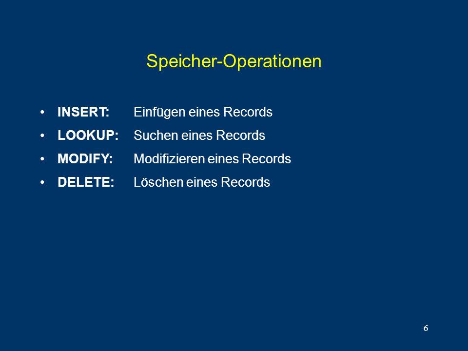 6 Speicher-Operationen INSERT: Einfügen eines Records LOOKUP: Suchen eines Records MODIFY: Modifizieren eines Records DELETE: Löschen eines Records
