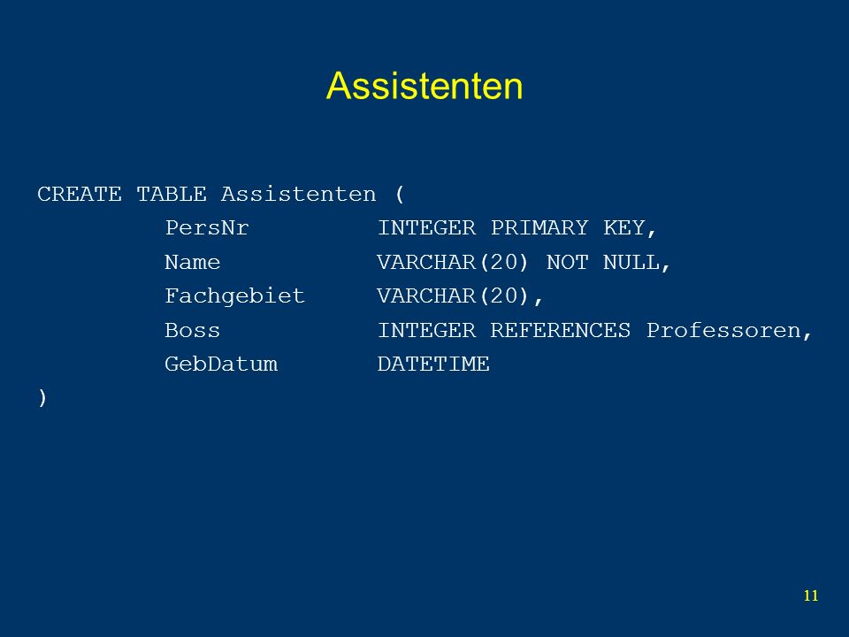 11 Assistenten CREATE TABLE Assistenten ( PersNr INTEGER PRIMARY KEY, Name VARCHAR(20) NOT NULL, Fachgebiet VARCHAR(20), Boss INTEGER REFERENCES Professoren, GebDatum DATETIME )