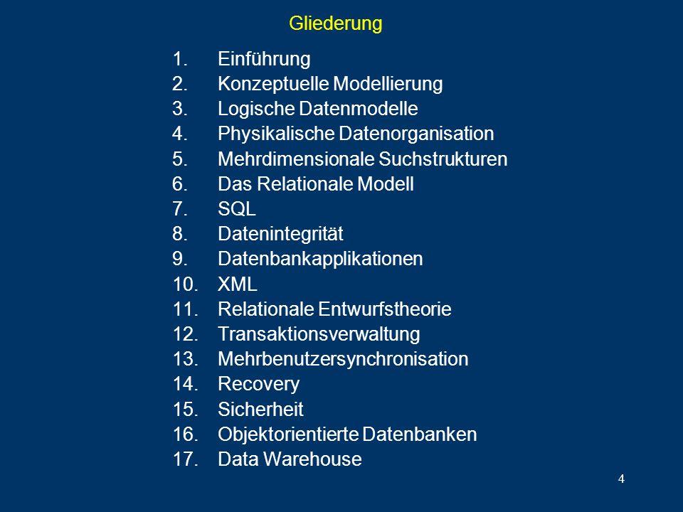 4 Gliederung 1.Einführung 2.Konzeptuelle Modellierung 3.Logische Datenmodelle 4.Physikalische Datenorganisation 5.Mehrdimensionale Suchstrukturen 6.Da