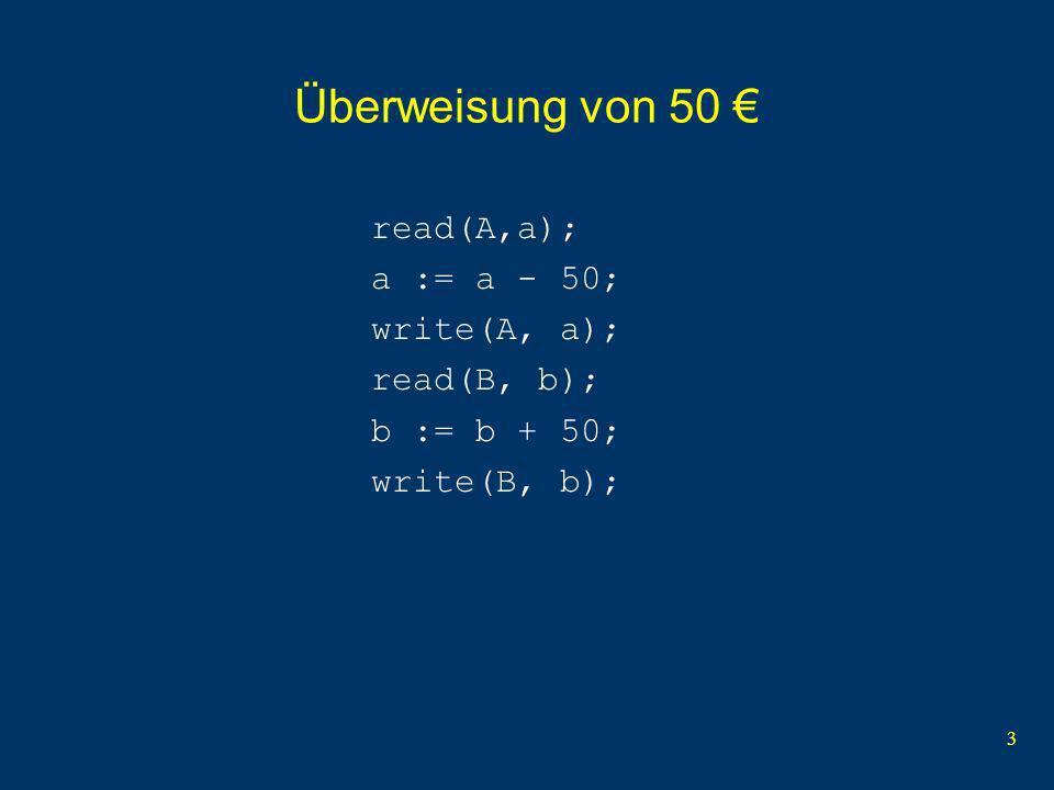 3 Überweisung von 50 read(A,a); a := a - 50; write(A, a); read(B, b); b := b + 50; write(B, b);