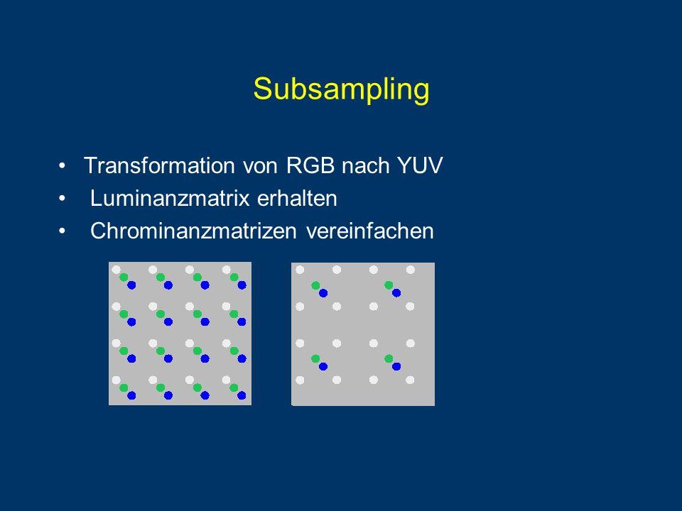 Subsampling Transformation von RGB nach YUV Luminanzmatrix erhalten Chrominanzmatrizen vereinfachen