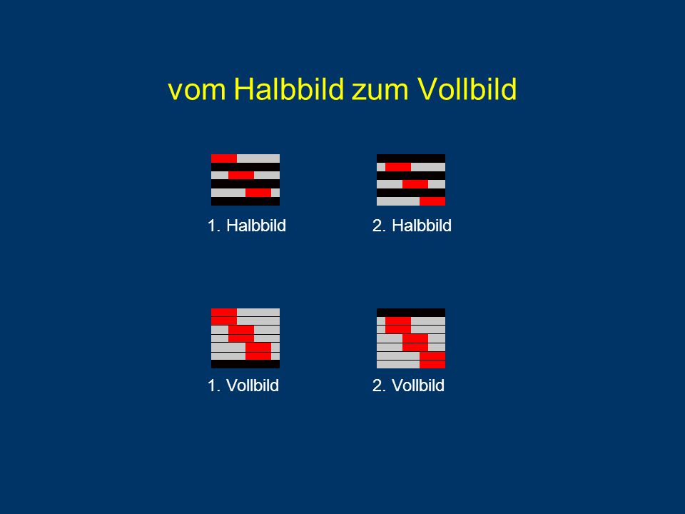 vom Halbbild zum Vollbild 1. Halbbild2. Halbbild 1. Vollbild2. Vollbild