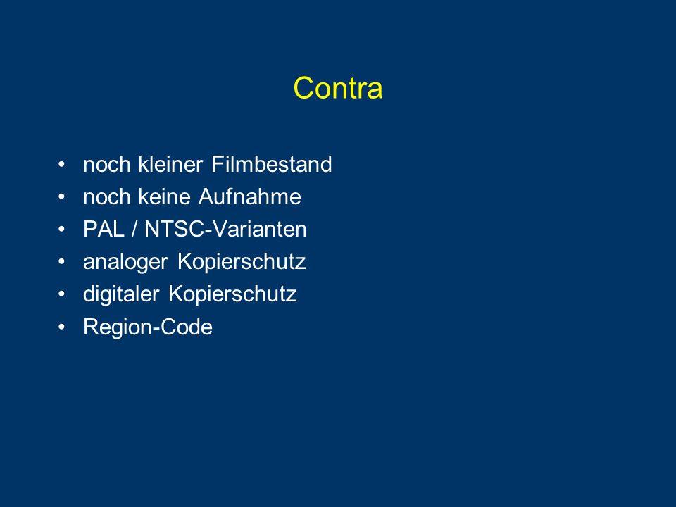 Content Scrambling System (CSS) 408 Schlüssel auf jeder DVD pro Lizenznehmer ein passender Schlüssel Videodaten verschlüsselt mit Title Key im Sektor Title Key verschlüsselt mit Disc Key im Sektor-Header Disc Key 408 mal verschlüsselt im Disc Key Sektor Authentifizierung durch Challenge-Response Datentransfer von Schlüssel und Daten