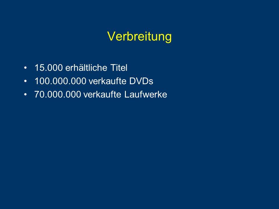 Verbreitung 15.000 erhältliche Titel 100.000.000 verkaufte DVDs 70.000.000 verkaufte Laufwerke