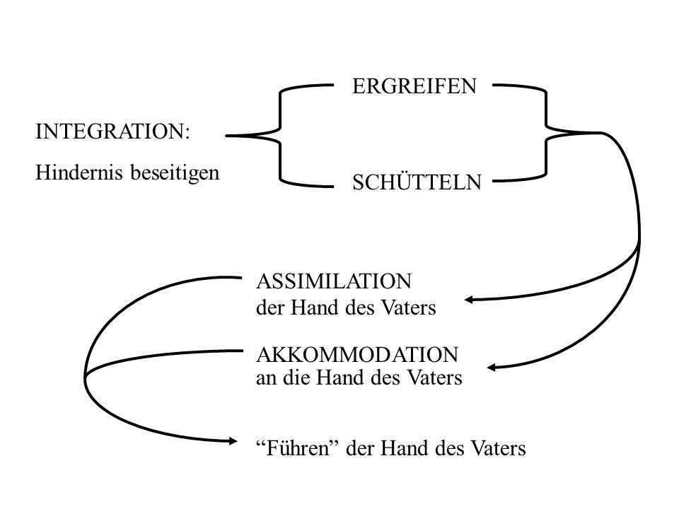 ERGREIFEN SCHÜTTELN INTEGRATION: Hindernis beseitigen ASSIMILATION der Hand des Vaters AKKOMMODATION an die Hand des Vaters Führen der Hand des Vaters