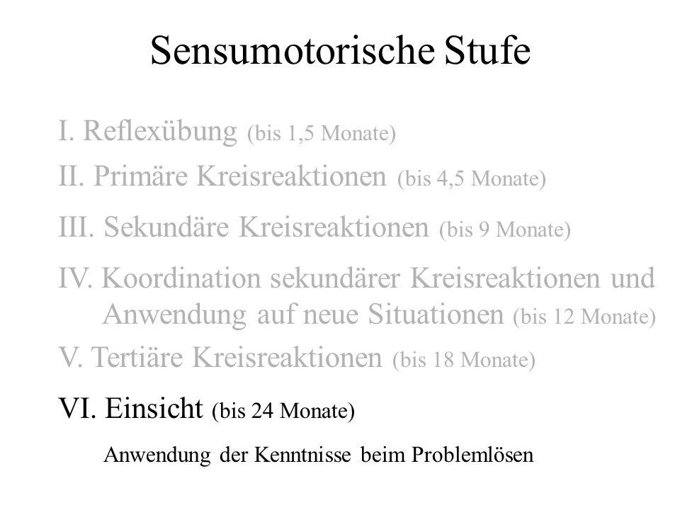 Sensumotorische Stufe I. Reflexübung (bis 1,5 Monate) II. Primäre Kreisreaktionen (bis 4,5 Monate) III. Sekundäre Kreisreaktionen (bis 9 Monate) IV. K