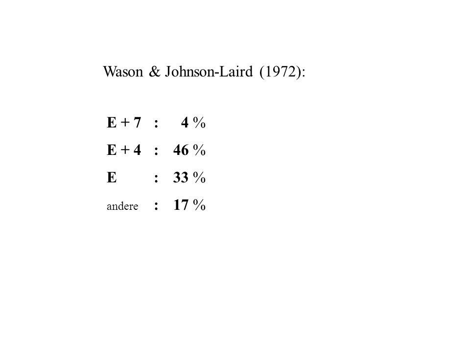 Wason & Johnson-Laird (1972): E + 7: E + 4: E : andere : 4 % 46 % 33 % 17 %