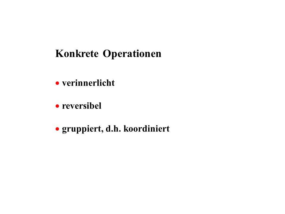Konkrete Operationen verinnerlicht reversibel gruppiert, d.h. koordiniert
