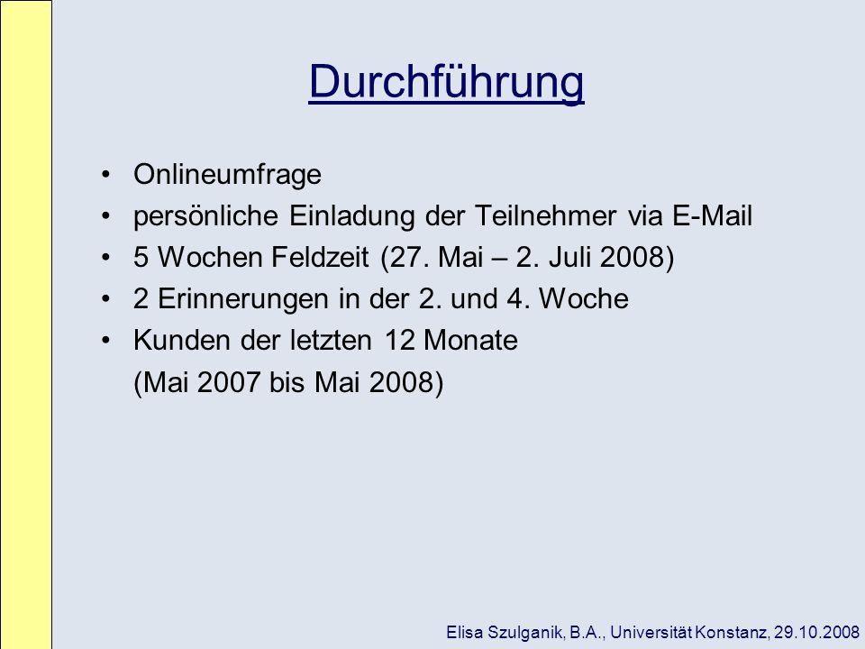 Durchführung Onlineumfrage persönliche Einladung der Teilnehmer via E-Mail 5 Wochen Feldzeit (27. Mai – 2. Juli 2008) 2 Erinnerungen in der 2. und 4.