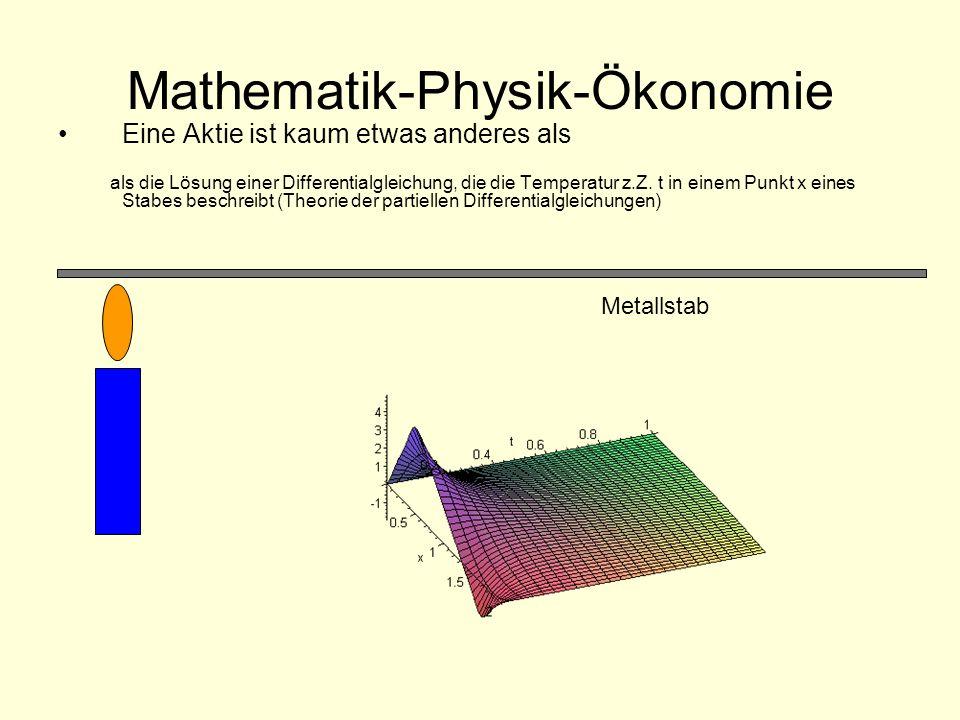 Mathematik-Physik-Ökonomie Eine Aktie ist kaum etwas anderes als als die Lösung einer Differentialgleichung, die die Temperatur z.Z. t in einem Punkt