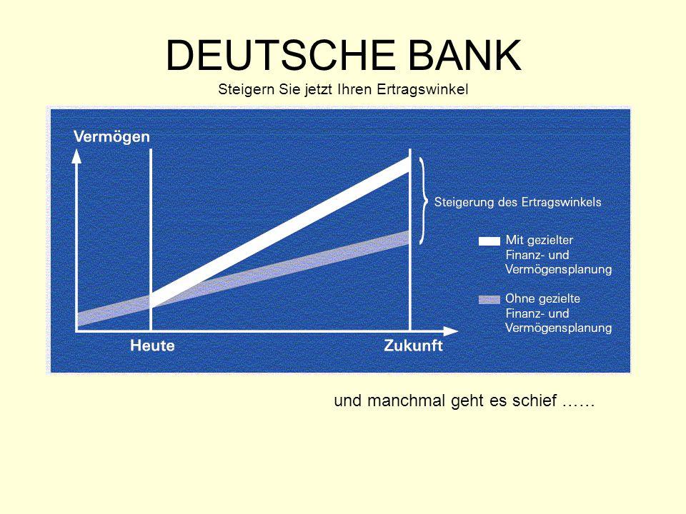 DEUTSCHE BANK Steigern Sie jetzt Ihren Ertragswinkel und manchmal geht es schief ……