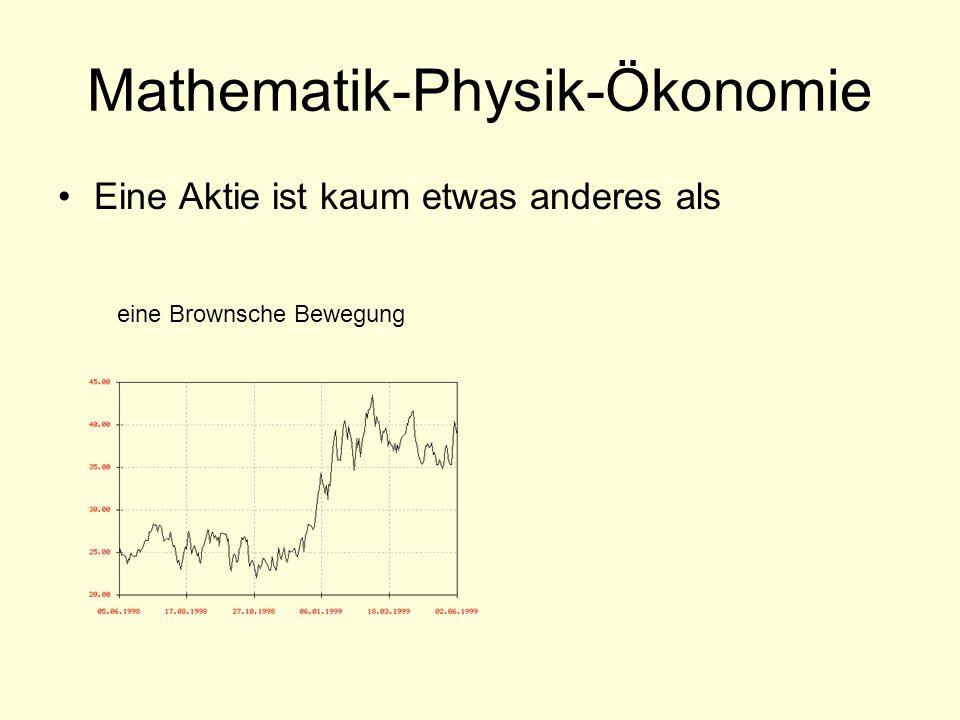Mathematik-Physik-Ökonomie Eine Aktie ist kaum etwas anderes als eine Brownsche Bewegung