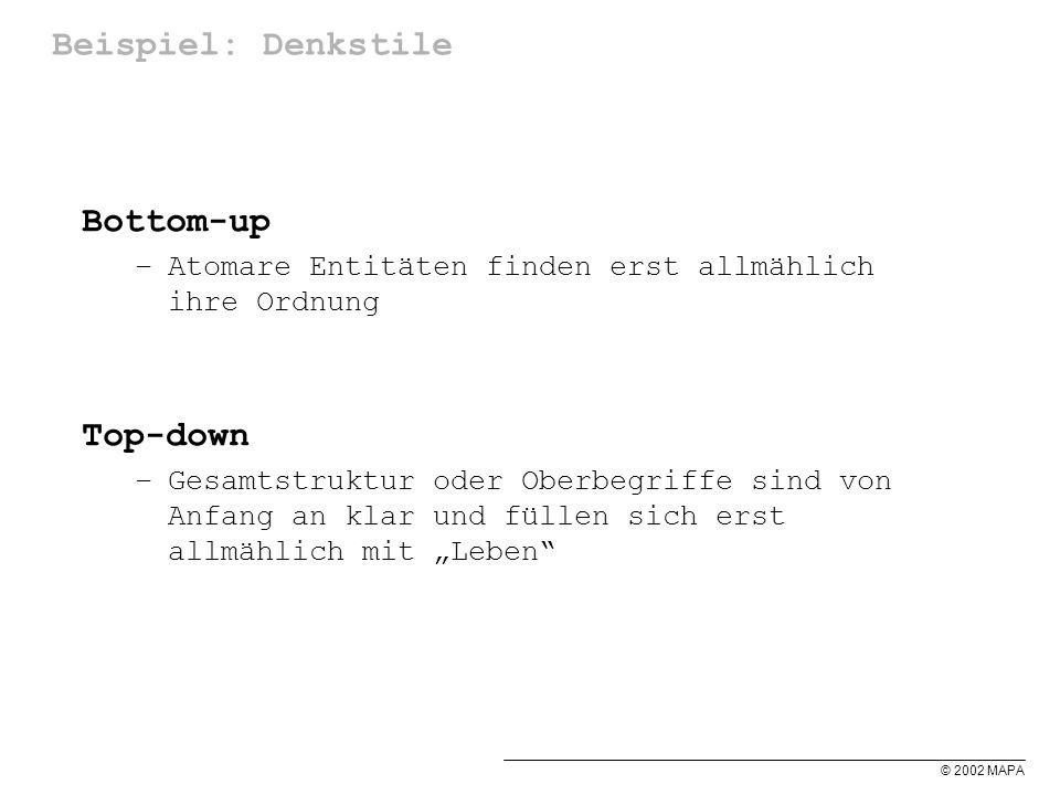 © 2002 MAPA Beispiel: Denkstile Bottom-up –Atomare Entitäten finden erst allmählich ihre Ordnung Top-down –Gesamtstruktur oder Oberbegriffe sind von Anfang an klar und füllen sich erst allmählich mit Leben