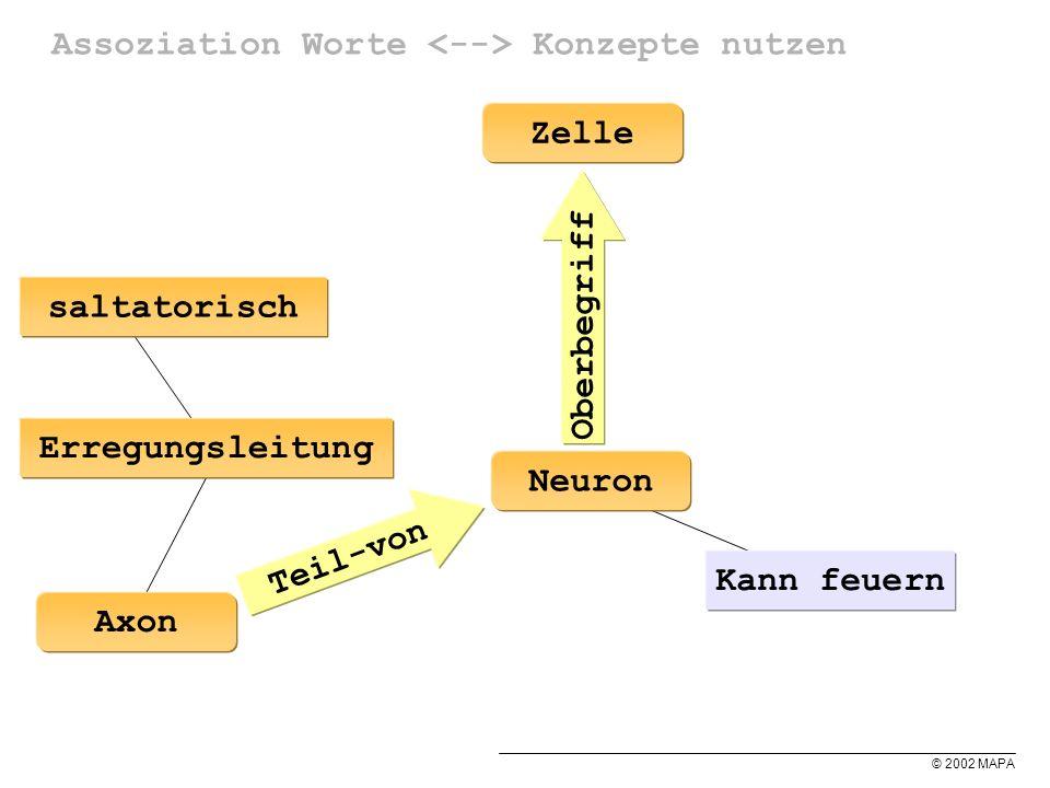 © 2002 MAPA Assoziation Worte Konzepte nutzen Neuron Kann feuern Erregungsleitung Teil-von Axon Zelle Oberbegriff saltatorisch